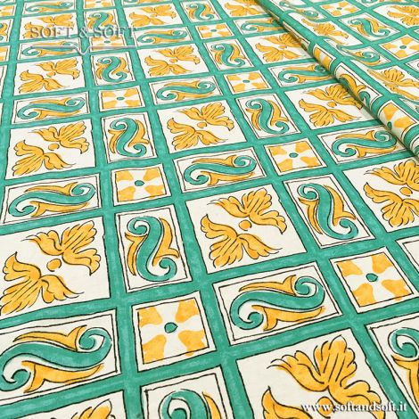 CALTAGIRONE decor fabric cm 140 super thin canvas green and yellow  681669