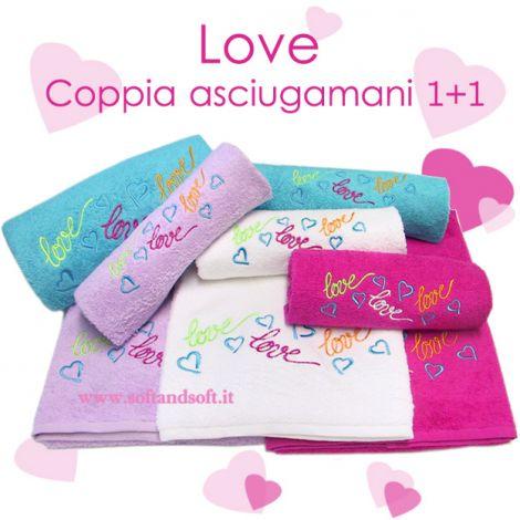 LOVELY coppia asciugamani 1+1 in puro cotone ricamati