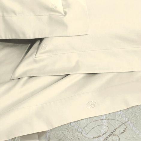 BLUMARINE Lory completo Lenzuola matrimoniale Raso di cotone Ricamato Burro