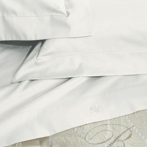 BLUMARINE Lory pure cotton satin Sheet Set for double bed white