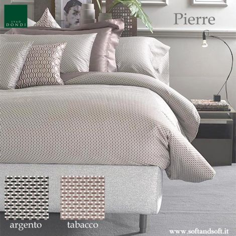 Sacco copri piumino per letto matrimoniale in Raso di puro Cotone stampato a piccolo disegno geometrico tipo cravatta double face
