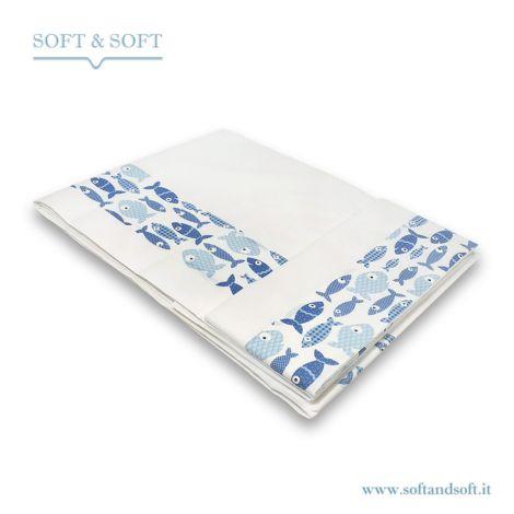 completo lenzuola da letto piazza e mezza bianco con bordo pesciolini azzurri