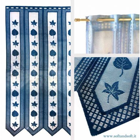 Edera BLU Window blind Tent by meter ready to hang height 120 cm
