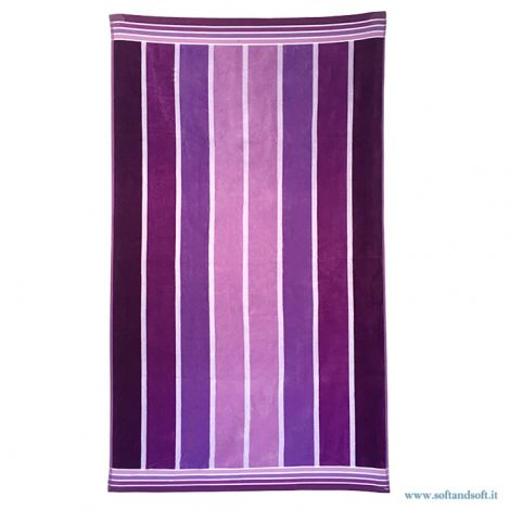 VERTICAL STRIPE PURPLE Pure Cotton Beach Towel 90×170 cm