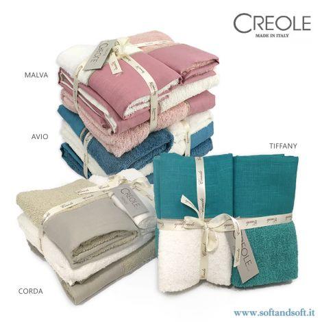 LINUS Completo Asciugamani 4 Pezzi 400gr/m² bordo lino tinta unita