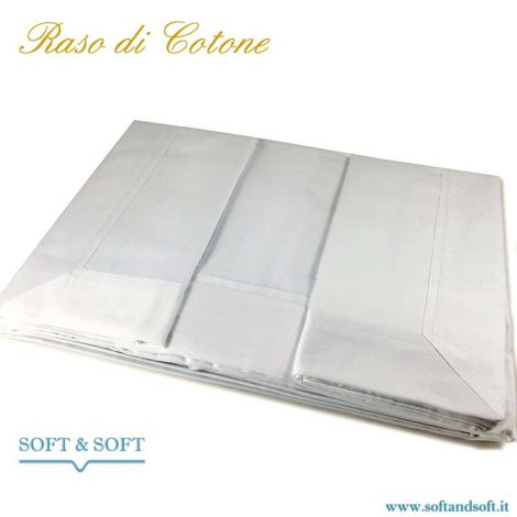 PURE RASO Sheet set single bed in pure cotton SATIN White