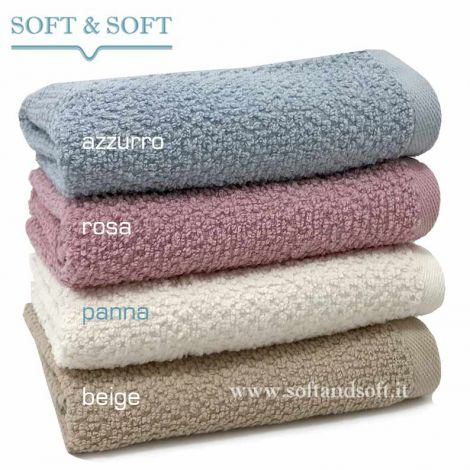 SOFT RICE Towel cm 40x40 pink beige cream blue gr. 430/sm