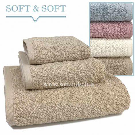 SOFT RICE Tris hand face bath Towel pink beige cream blue gr. 430/sm