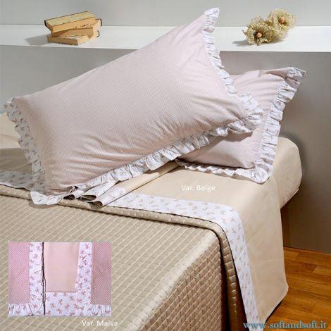 FIOCCHINI GALETTA sheet set for single bed in pure cotton fabric