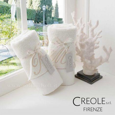 Asciugamani con Cifra lettera nome e balza in puro lino