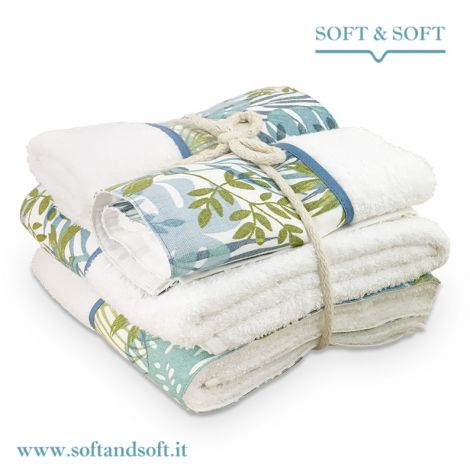 BALZA FOGLIE Completo Asciugamani 4 Pezzi 400gr/m²