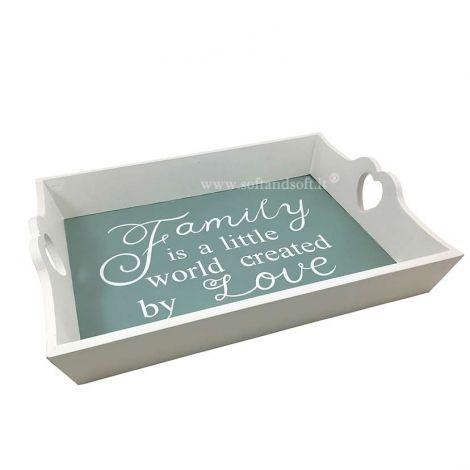 Family white wood tray