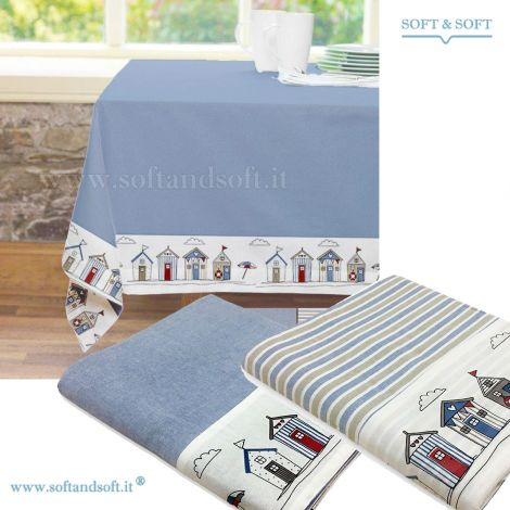 BEACH Tablecloth for 6 People cm 140x180 with Printed Border
