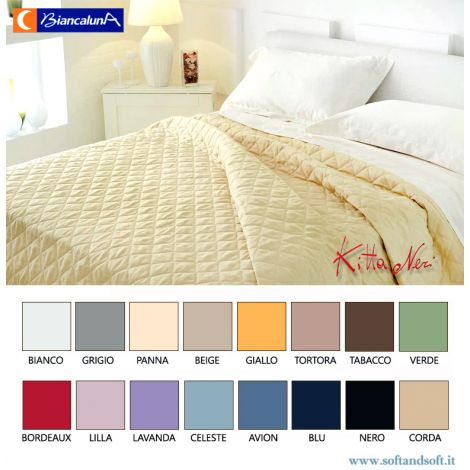 ANAIS Cotton Satin Quilted Bedcover for single bed MAXI BIANCALUNA