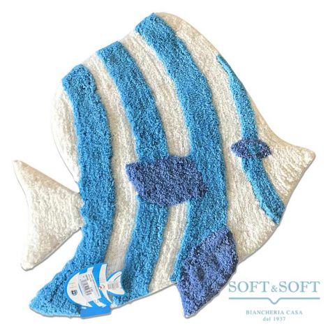 Lenny Tappeto Bath Mat Fish Shape Light Blue