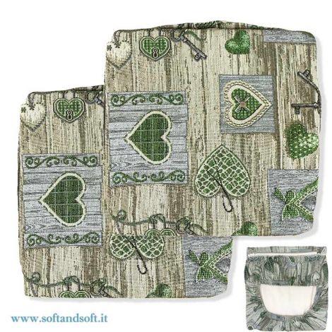 SHABBY cuoriI coppia cuscini coprisedia con elastico sfoderabili - Verde