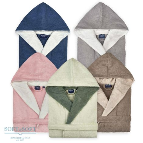 LONDON Two-tone Terry Cotton Bathrobe