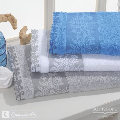 MILSON Set Asciugamani Jacquard coordinato 5 pezzi BIANCALUNA