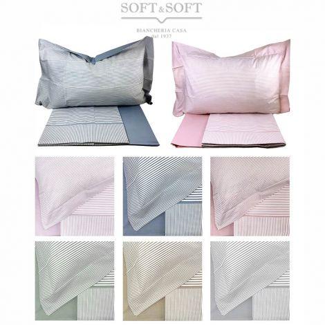 lenzuola per letto piazza e mezza a righe colore azzurro rosa beige grigio verde