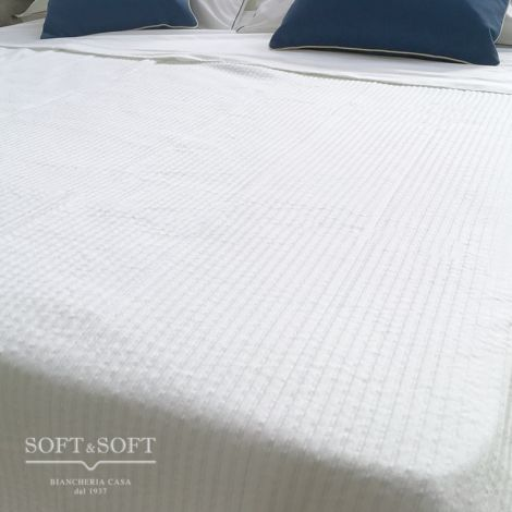 LUCOT Cotton Bedcover for Single Bed - white