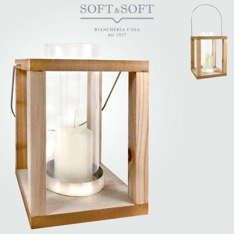 Lanterna in legno e vetro con rifiniture in metallo altezza cm 24