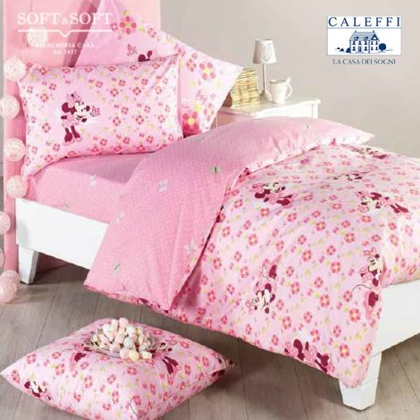 MINNIE FIORI Double Face Duvet Cover set for single bed Disney CALEFFI