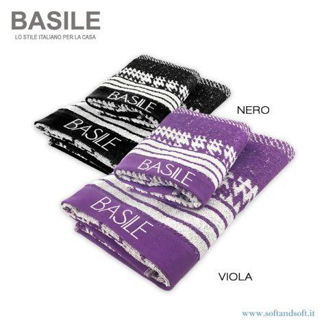 PARIS Set Asciugamani 1+1 in Spugna di Puro Cotone Stampato BASILE