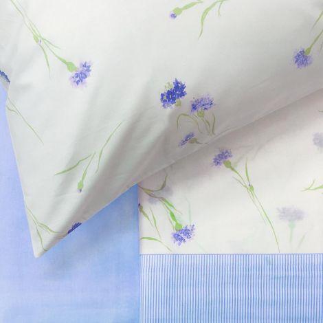 INTRIGUE Completo Lenzuola Misura MATRIMONIALE Puro Cotone GABEL-Irisblu