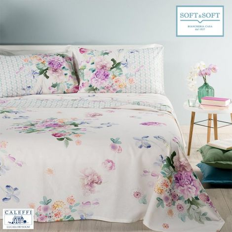 FENICE pure cotton Panama fabric bed cover for double bed Caleffi