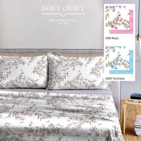 JANE completo lenzuola Misura MATRIMONIALE Puro Cotone a fiori