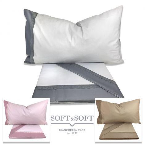 lenzuola per letto matrimoniale tinta unita con bordo in raso in colore più scuro rifinito con pizzo, nei colori grigio perla, rosa, tortora