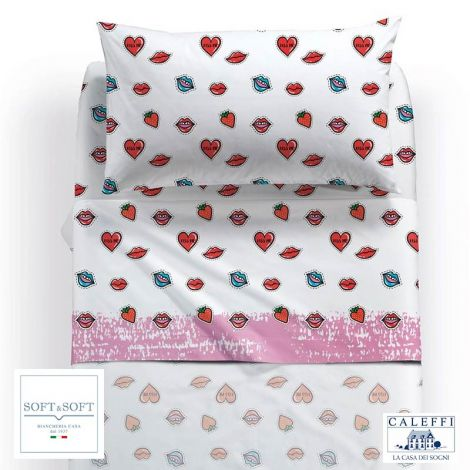 KISS sheet set for three-quarter bed by Caleffi