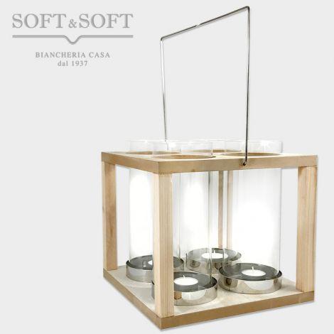 lanterna in legno metallo e vetro per 4 candele tea light o più grandi, struttura a box di lengo e quattro alti cilindri parafiamma in vetro con base in metallo per contenere le candela, dotata di manico in metallo