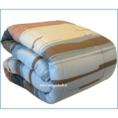 Trapunta Invernale Caleffi matrimoniale nei colori beige, marrone, azzurro