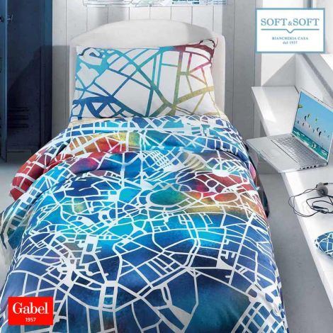 MAP Duvet Cover Set THREE-QUARTER Bed Size Pure Cotton by GABEL