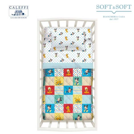 MICKEY PATCH spring quilted bedcover for Cots Disney CALEFFI