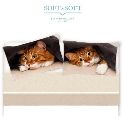 Mila cat Sheet set for single bed pure printed cotton