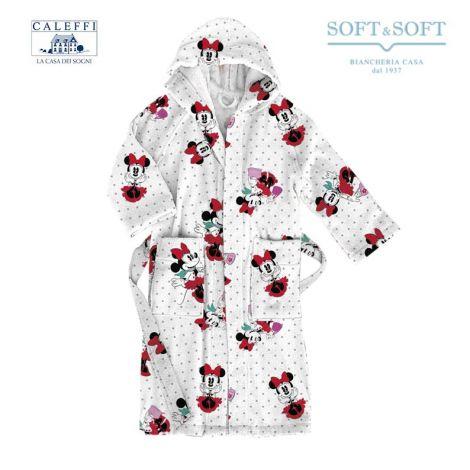 MINNIE CITY Hooded Bathrobe for baby Caleffi