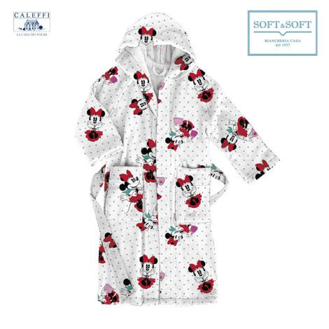 MINNIE CITY Hooded Bathrobe for baby Caleffi