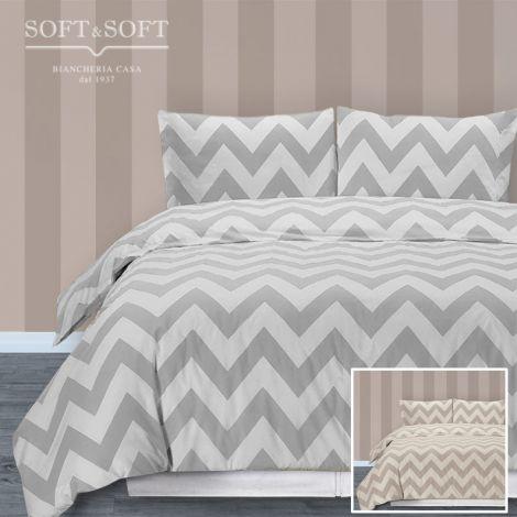copripiumino stile missoni grigio o beige per letto singolo, il sacco e le federe sono stampate a zig-zag in due tonalità di grigio, o di beige