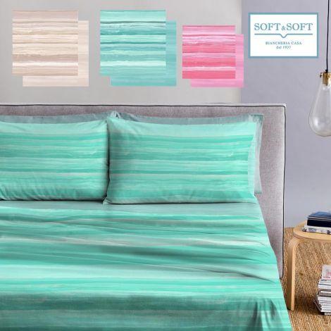 lenzuola a righe sfumate effetto mare, bellissimo disponibile nei colori verde acqua, rosa, e sabbia