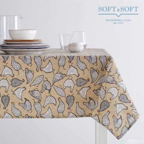 NINA Printed Tablecloth for 12 People Table cm 140x240