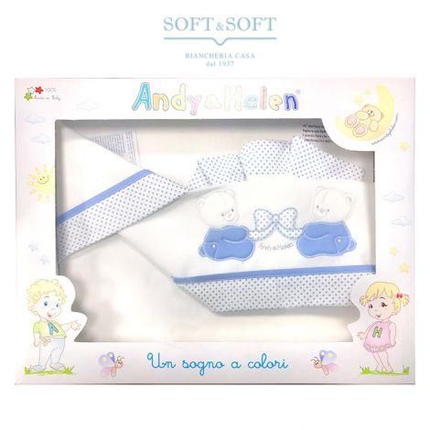 Sheet Set for crib/pram Andy & Helen d05 white and blue