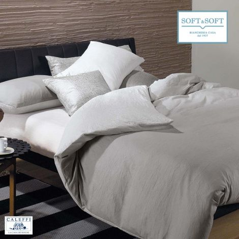 PAGODA duvet cover parure single bed in microfiber fabric by Caleffi Grey