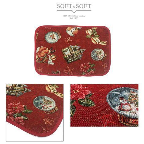 PAPA' E ALBERO Christmas Centrepiece Gobelin Fabric cm 35x50
