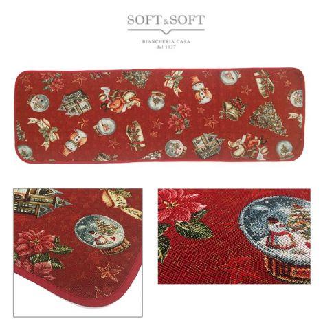 PAPA' E ALBERO Christmas Centrepiece Gobelin Fabric cm 45x140