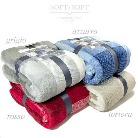 plaid in morbido pile leggermente vellutato disegno a quadretti disponibile in 4 colori: grigio azzurro rosso tortora, il plaid è confezionato con un nastro di raso grigio
