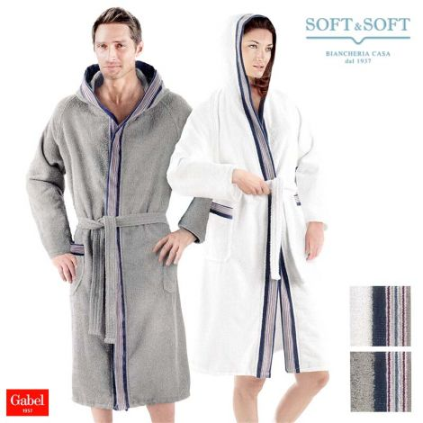 PONGO Unisex Solid Colour Bathrobe with Hood and Pockets GABEL