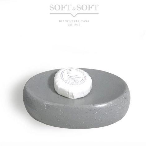Sand oval soap dish made of ceramic gray stone effect