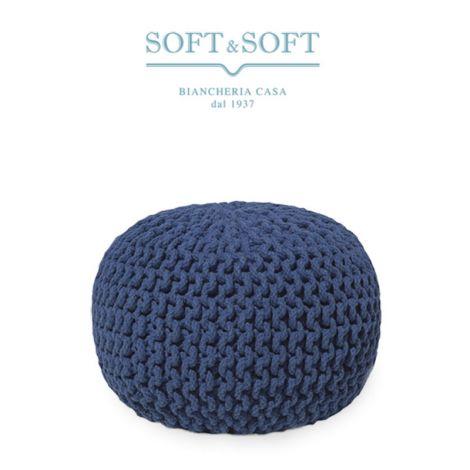 POUF UNCINETTO Poggiapiedi in Tessuto Intrecciato -cm 30x50-Blu